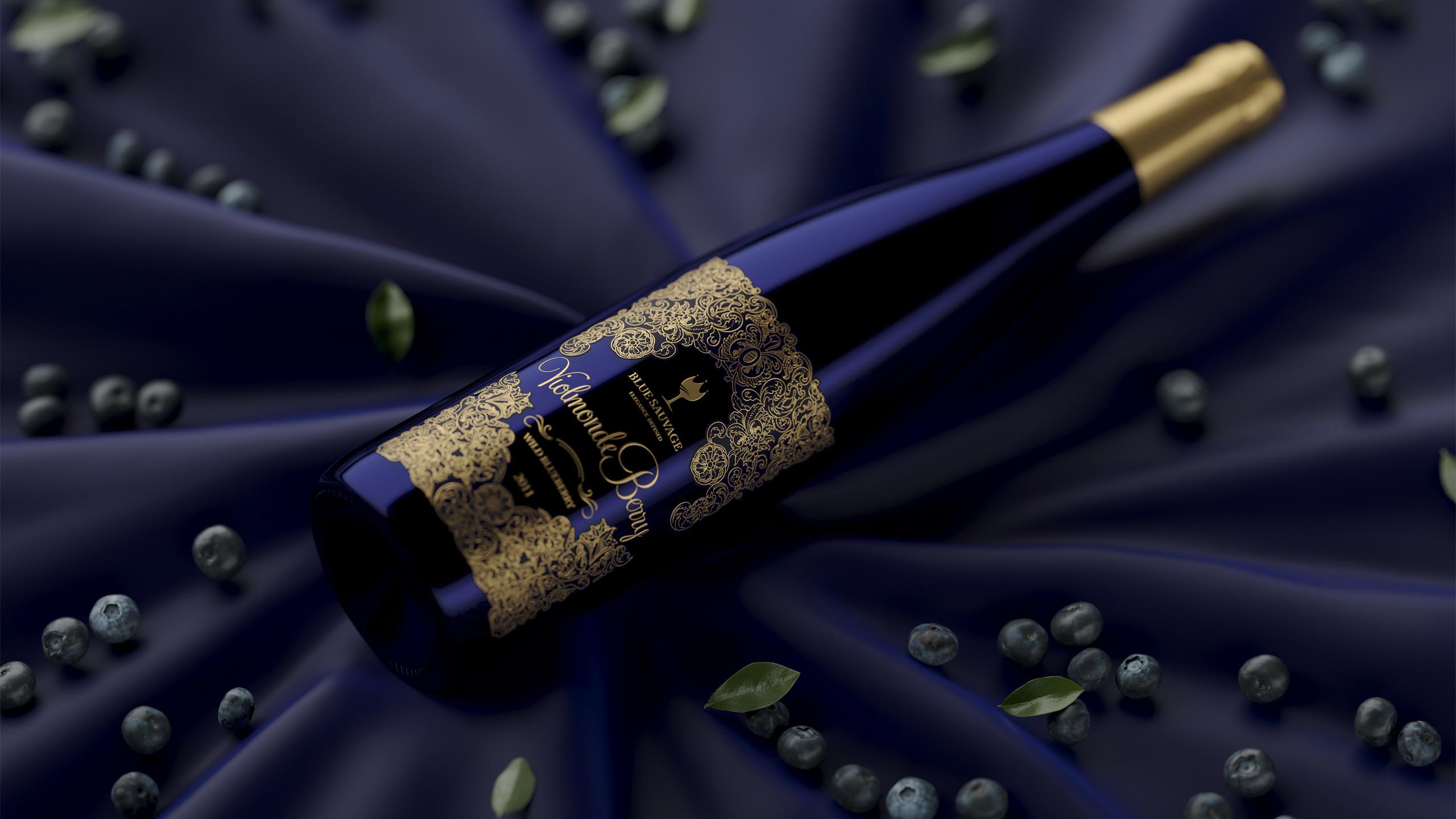 Дизайн упаковки для черничного вина